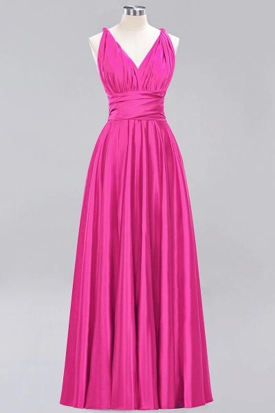 BM0143 Simple A-Line V-Neck Sleeveless Ruffles Floor Length Bridesmaid Dress_9