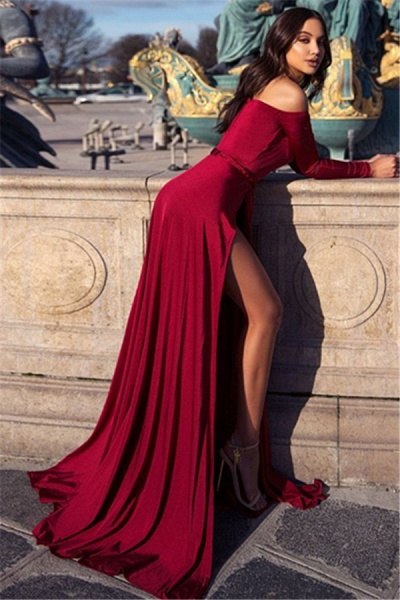 Chic Off-the-shoulder Chiffon A-line Prom Dress_2