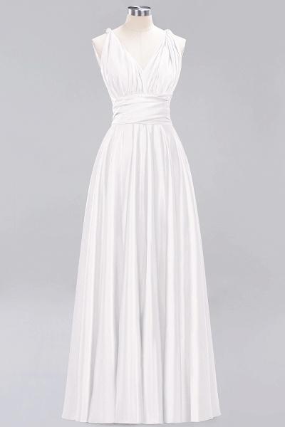 BM0143 Simple A-Line V-Neck Sleeveless Ruffles Floor Length Bridesmaid Dress_1
