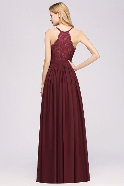 BM0152 Chiffon Lace V-Neck Sleeveless Straps Floor Length Bridesmaid Dress_36