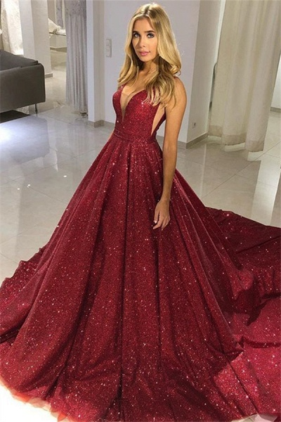 Awesome V-neck Sequined A-line Prom Dress_1