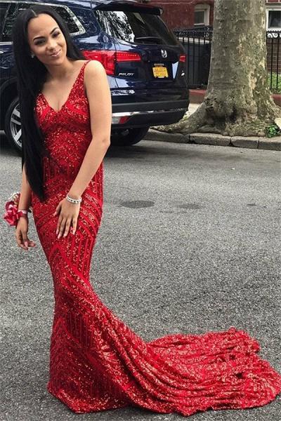 Precious V-neck Sequined Mermaid Prom Dress_1