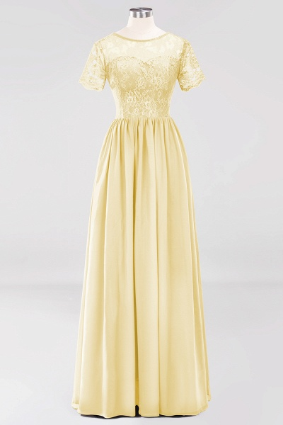 A-line Chiffon Lace Jewel Short-Sleeves Floor-length Bridesmaid Dress_17