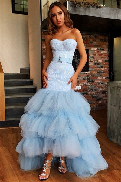 Attractive Strapless Tulle Mermaid Prom Dress_1