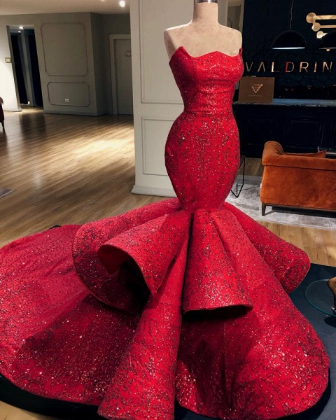 Fabulous Strapless Appliques Mermaid Prom Dress_2