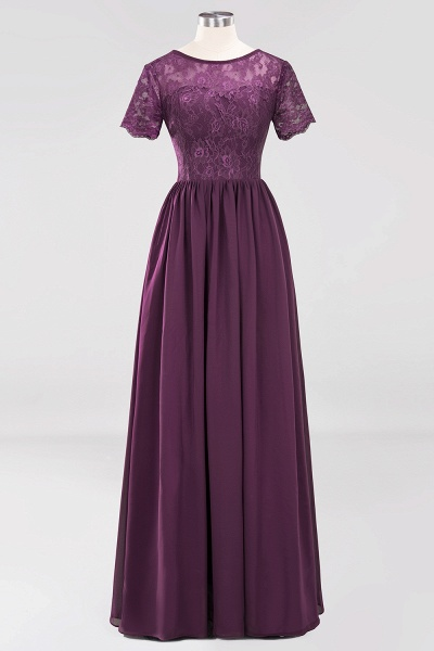 A-line Chiffon Lace Jewel Short-Sleeves Floor-length Bridesmaid Dress_19