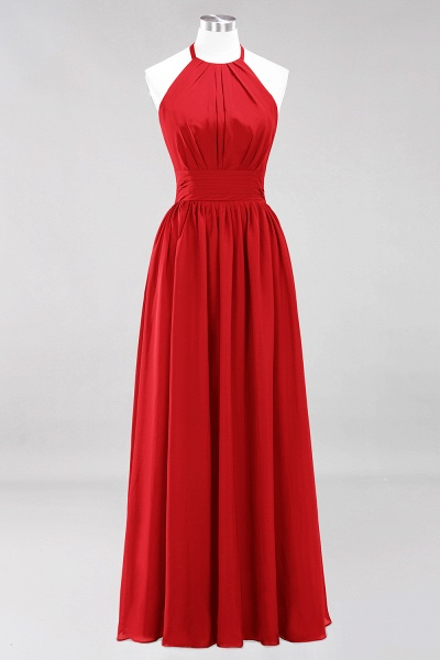 A-line Chiffon Appliques Halter Sleeveless Floor-Length Bridesmaid Dresses with Ruffles_8