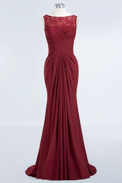 BM0058 Burgundy Chiffon Lace Scoop A-Line Ruffles Long Bridesmaid Dresses_7
