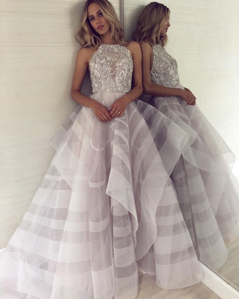 Fabulous Halter Organza A-line Prom Dress_5