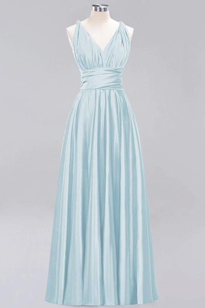 BM0143 Simple A-Line V-Neck Sleeveless Ruffles Floor Length Bridesmaid Dress_22