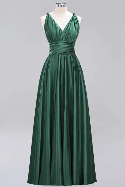 BM0143 Simple A-Line V-Neck Sleeveless Ruffles Floor Length Bridesmaid Dress_30