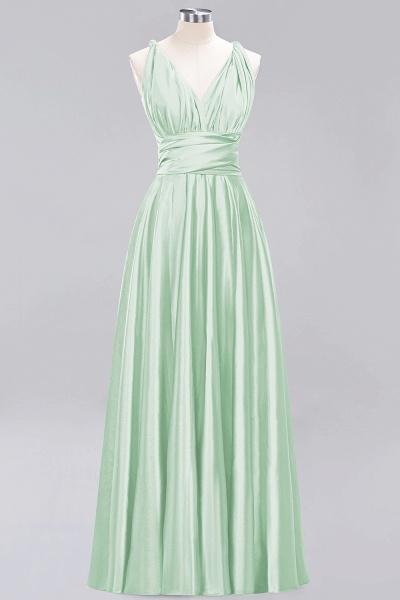 BM0143 Simple A-Line V-Neck Sleeveless Ruffles Floor Length Bridesmaid Dress_33