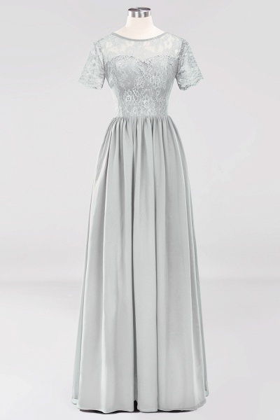 A-line Chiffon Lace Jewel Short-Sleeves Floor-length Bridesmaid Dress_29