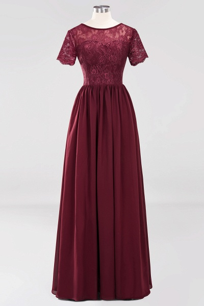 A-line Chiffon Lace Jewel Short-Sleeves Floor-length Bridesmaid Dress_10