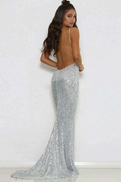 Modest V-neck Sequined Mermaid Prom Dress_3