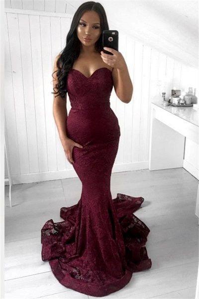 Excellent Strapless Appliques Mermaid Prom Dress_1