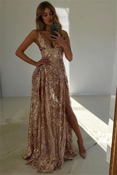 Modest V-neck Split Front A-line Prom Dress_1