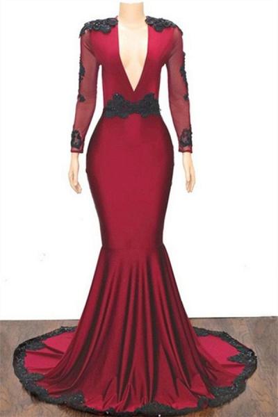 Excellent V-neck Appliques Mermaid Prom Dress_1