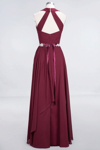 A-Line Chiffon Halter V-Neck Sleeveless Ruffle Floor-Length Bridesmaid Dress with Appliques Sashes_10