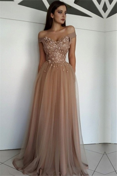 Amazing Off-the-shoulder Tulle A-line Prom Dress_1