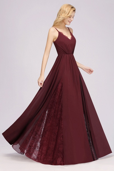 BM0213 A-Line Chiffon V-Neck Spaghetti Straps Long Bridesmaid Dress_10