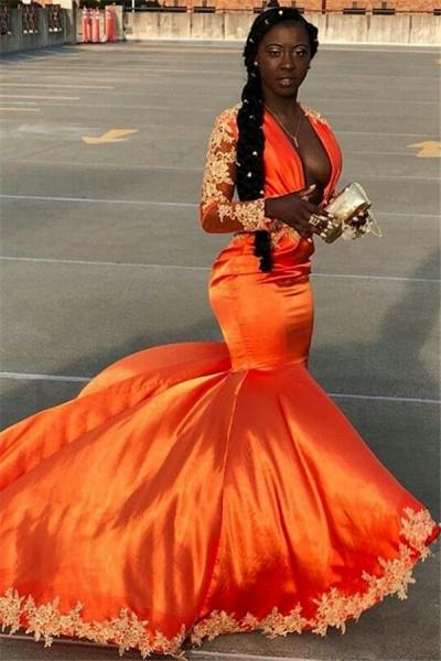 Elegant V-neck Appliques Mermaid Prom Dress_1