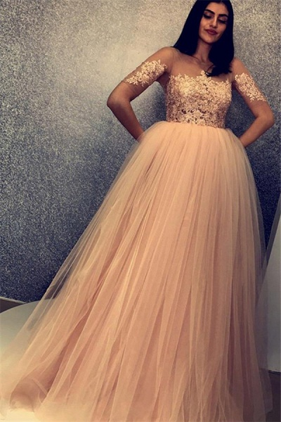 Fascinating Scoop Tulle A-line Prom Dress_1