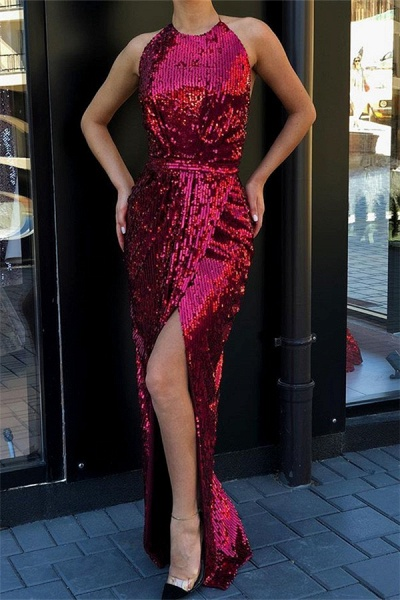 Attractive Halter Sequined Mermaid Prom Dress_1