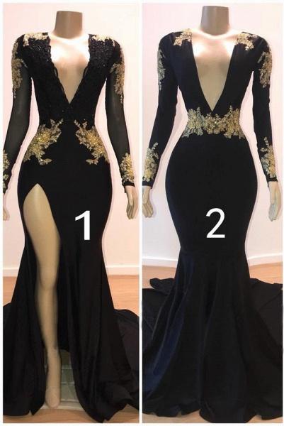 Precious V-neck Appliques Mermaid Prom Dress_1
