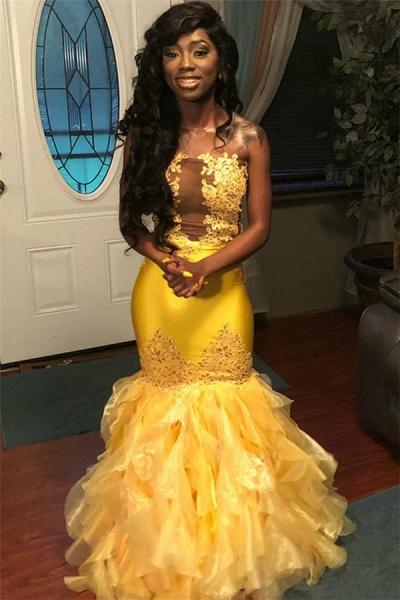 Eye-catching Strapless Tulle Mermaid Prom Dress_3