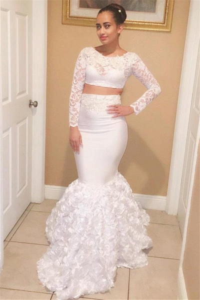 Eye-catching Scoop Appliques Two Pieces Prom Dress_1