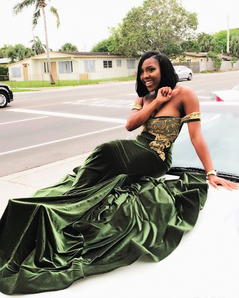 Latest Off-the-shoulder Appliques Mermaid Prom Dress_3
