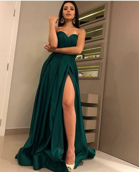 Attractive Strapless Split Front A-line Prom Dress_4