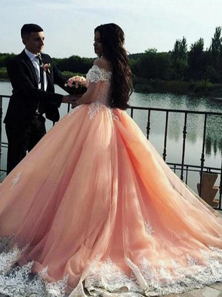 Chic Off-the-shoulder Tulle Ball Gown Prom Dress_3