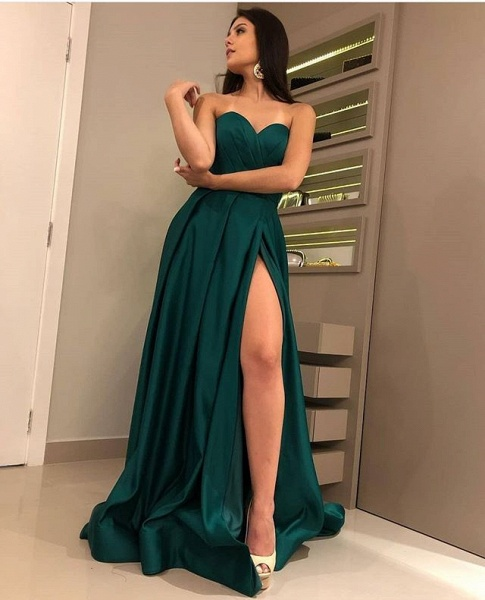 Attractive Strapless Split Front A-line Prom Dress_3