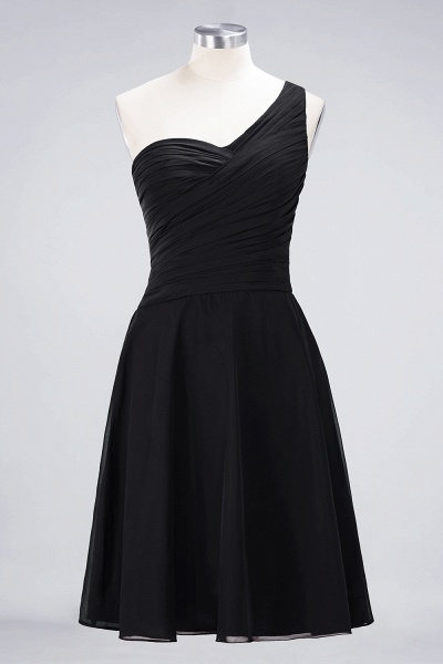 A-Line Chiffon One-Shoulder Sweetheart Sleeveless Knee-Length Bridesmaid Dress with Ruffles_28