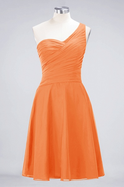 A-Line Chiffon One-Shoulder Sweetheart Sleeveless Knee-Length Bridesmaid Dress with Ruffles_15