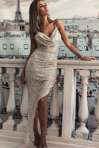 Excellent Spaghetti Straps Column Prom Dress_1