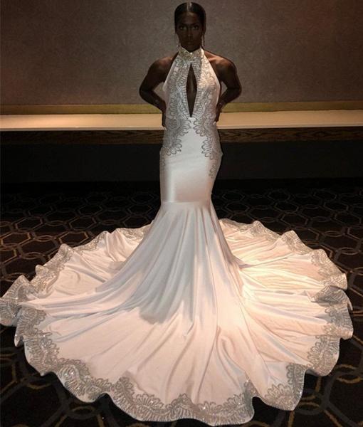 Chic Halter Appliques Mermaid Prom Dress_3