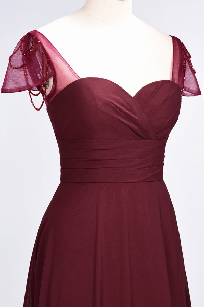 A-Line Chiffon Sweetheart Cap-Sleeves Ruffle Floor-Length Bridesmaid Dress with Beadings_39