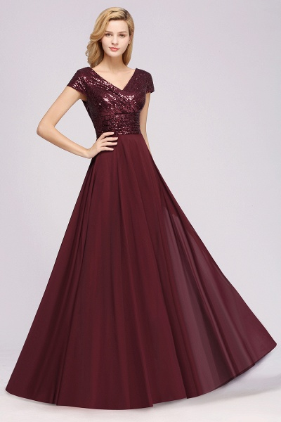 BM0156 A-Line Burgundy Chiffon Sequined V-Neck Sleeveless Ruffles Bridesmaid Dresses_4