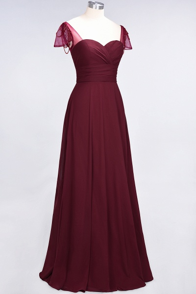A-Line Chiffon Sweetheart Cap-Sleeves Ruffle Floor-Length Bridesmaid Dress with Beadings_37