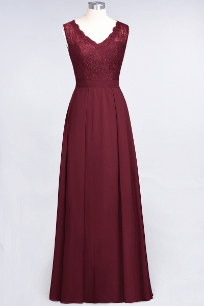 A-Line Chiffon Lace V-Neck Sleeveless Floor-Length Bridesmaid Dress_43