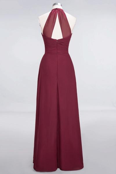 A-Line Chiffon Halter V-Neck Sleeveless Floor-Length Bridesmaid Dress with Ruffle_2