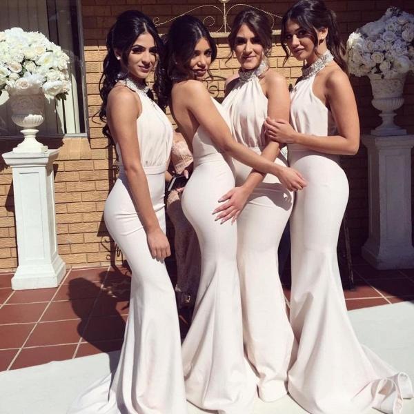 Elegant Halter Mermaid Bridesmaid Dresses | Sexy Ruched Long Wedding Party Dresses_4