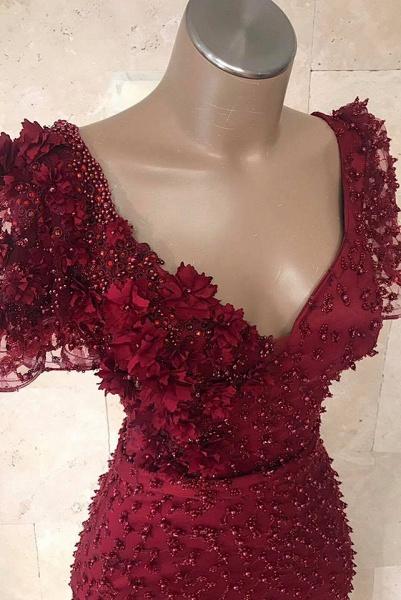 Chic V-neck Flower(s) Mermaid Prom Dress_3
