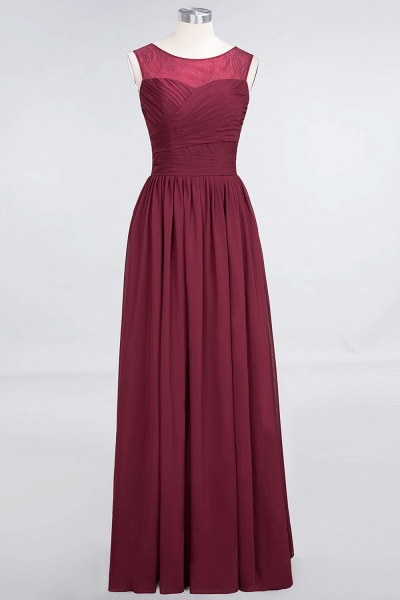 A-Line Chiffon Tulle Lace Scoop Sleeveless Floor-Length Bridesmaid Dress with Ruffle_1