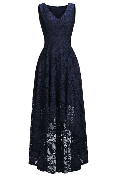 A-line V-neck Sleeveless Burgundy Hi-lo Lace Dresses_4