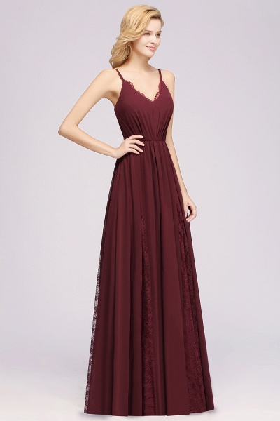 BM0213 A-Line Chiffon V-Neck Spaghetti Straps Long Bridesmaid Dress_8