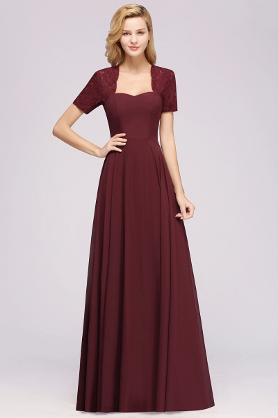 A-Line Chiffon Square Short Sleeves Bridesmaid Dress with Ruffle_25